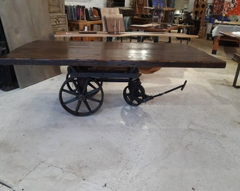 Vintage industrial factory cart dining table