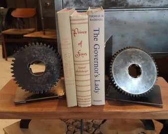 Vintage industrial cast iron gear bookends