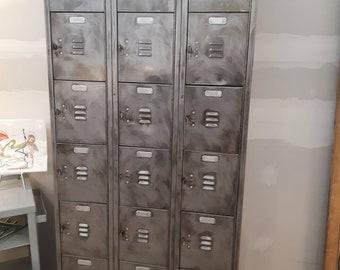 Vintage industrial stripped steel cubicle locker unit