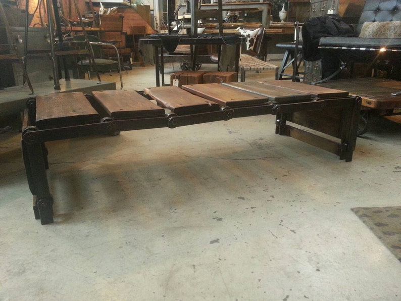 Vintage industrial conveyor coffee table/bench image 0