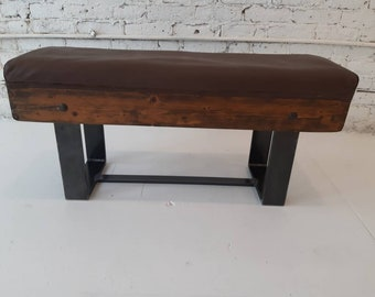 Vintage gymnastics piece repurposed to use as a bench