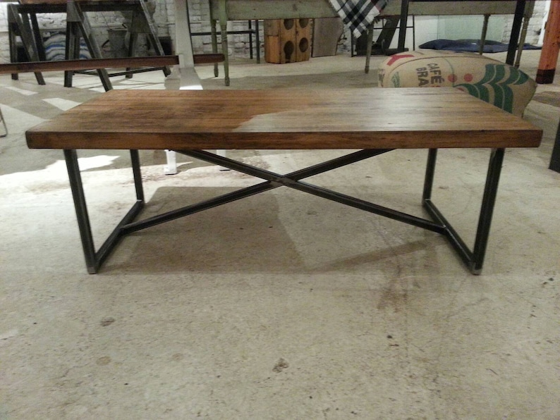 Vintage industrial maple work top coffee table image 0