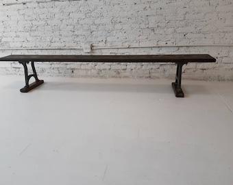 Vintage industrial locker room gym bench