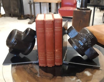 Vintage industrial steel a d cast iron bookends