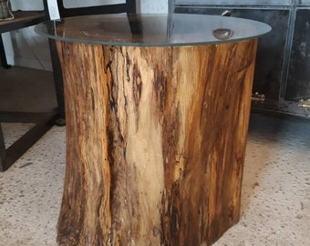 Salvaged fallen tree live edge end table
