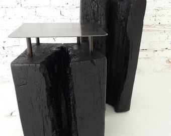 Pair of salvaged charred beam end tables or pedestals