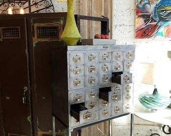 Vintage industrial stripped steel stackable card catalog