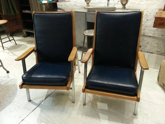 Astounding Pair Of Midcenturey Blue Leather Chairs By The Royalmetal Co Pdpeps Interior Chair Design Pdpepsorg