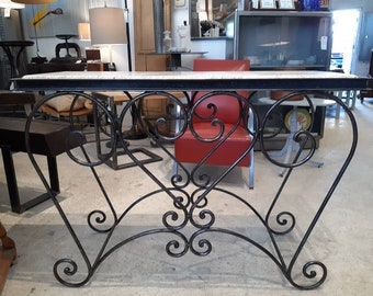 Vintage French iron garden table with marble top