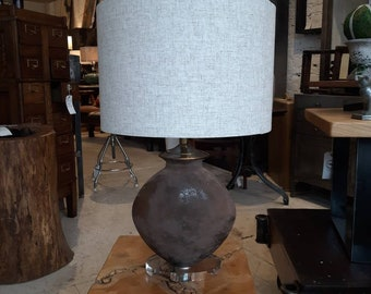 Glass table lamp with acrylic base