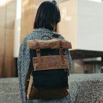 KOVERED Wax Canvas Rolltop Backpack - Euro Style Student Laptop Rucksack | Heritage Leather Bag | Backpacks / Rucksacks for Man or Woman