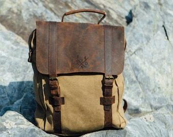 Canvas Backpack | Canvas Vintage Rucksack | Reclaimed Leather Backpack | Canvas Rucksack | Canvas Bag Brown