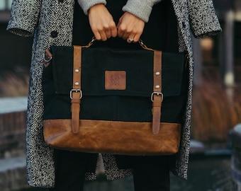 Waxed Canvas Messenger Bag| Leather Laptop Bag | Handbag for Women | Shoulder Bag for Men