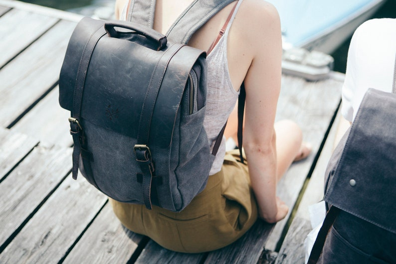 Canvas Backpack  Heavy-Duty Canvas Rucksack  Reclaimed image 0