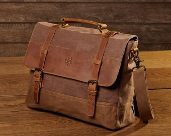Waxed Leather Satchel Bag | Waxed Canvas Messenger Bag | Leather Laptop Bag