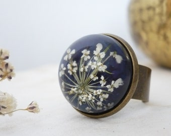 Real Flower Ring - Pressed Flower Ring - Resin Flower Ring - Dome Ring - Floral Resin Jewelry - Gift For Her - Resin Ring - Sky Blue Ring