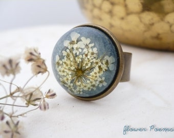 Flower Ring Resin - Pressed Flower Ring - Real Flower Ring - Dome Ring - Floral Resin Jewelry - Gift For Her - Resin Ring - Sky Blue Ring
