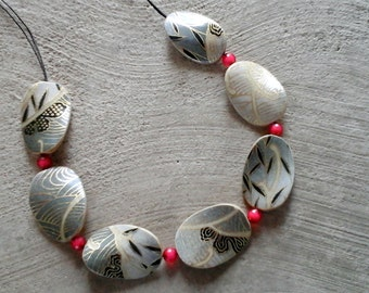 Japanese paper wooden necklace-Grey and red