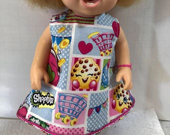 "BABY ALIVE Doll Clothes, Cute ""SHOPKINS"" - Shopkins Party Dress, 12 inch Baby Alive Doll Clothes, Kooky Cookie, Strawberry Kiss"