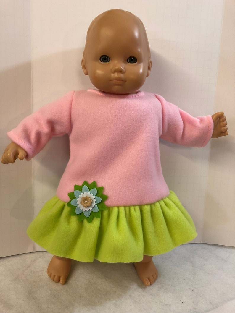 8a0b7d697 Bitty Baby Doll Clothes PINK   GREEN Soft Fleece Dress with