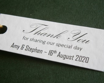 10 Personalised Wedding Favour 'Thank You' Gift Tags