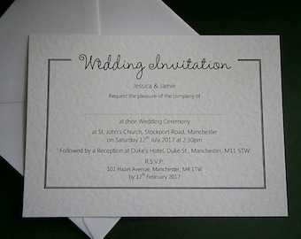 10 Personalised Wedding / Evening Invitations - White, Ivory - Postcard Style