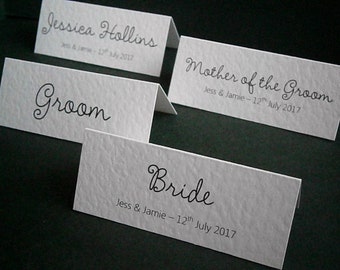 10 Personalised Wedding Place Name Cards - White, Ivory - Made to Order