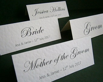 1 Personalised Wedding Place Name Card - Sample