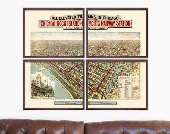 Chicago Map, Antique Map, Chicago Art, Chicago Elevated Train Map, Chicago Train, Train Map, Subway Map, IL, Travel Art, Home Decor