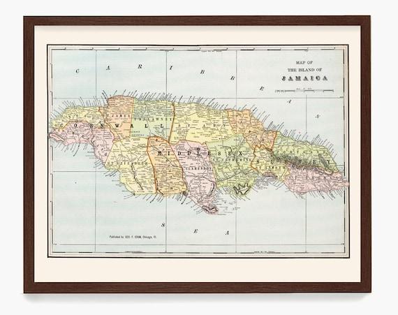 Jamaica Map, Jamaica Map Art, Map Decor, Jamaica poster, Jamaica Art, Beach Decor, Jamaica Decor, Tropical Art, Jamaica Gift, Map Art