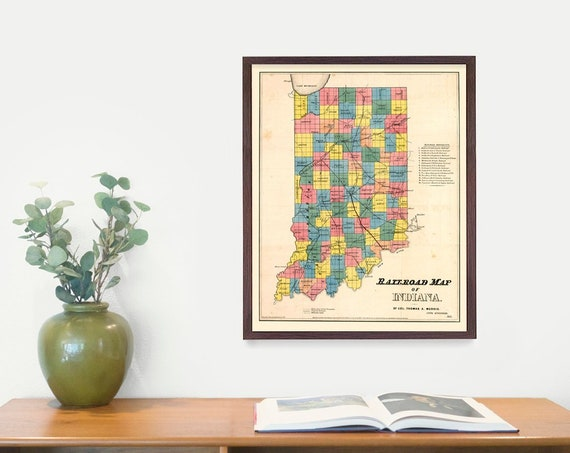 Indiana Map, Indiana Art, Indiana Poster, Indiana Decor, Indiana Wall Art, Indianapolis, Vintage Map, Map Art, Housewarming Gift, Home Decor
