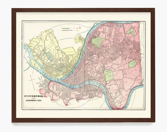 Pittsburgh Map - Map Art - Map Decor - Pittsburgh Art - Pittsburgh Map Art - Pittsburgh Poster - Pennsylvania - Pittsburgh Gift - Home Decor