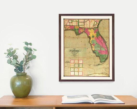Florida Map, Map Art, Map Decor, State Map, Florida Art, Florida Decor, Florida Wall Art, Old Map,Map Wall Decor, Home Wall Art, Vintage Art