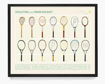 Tennis Art, Evolution of the Tennis Racket, Tennis Poster, Tennis Patent, Tennis Decor, Vintage Tennis, Tennis Wall Art, Tennis Gift