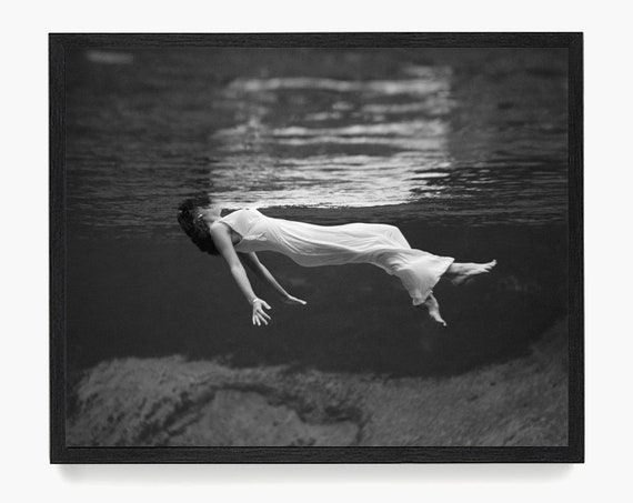 Woman Floating on Water Photograph, Tony Frisell Artwork, Fashion Photograph, Dream Art, Fine Art Photography, Black and White Photograph