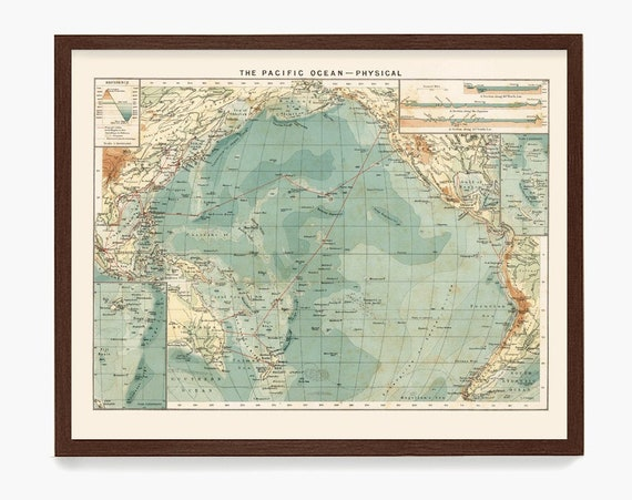 Pacific Ocean Map, Physical Map, Ocean Art, Pacific Ocean Art, Ocean Poster, Ocean Map, Oceanography, Maritime Art, Nautical Decor