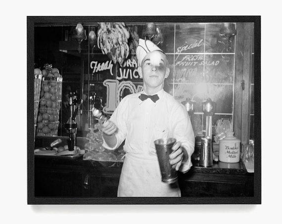 Ice Cream Parlor Photograph, Vintage Soda Fountain, Soda Fountain Art, Ice Cream Parlor Wall Art, Ice Cream Decor, Ice Cream Shop