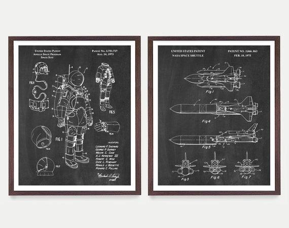 Space Patent Art - NASA Poster - NASA Art - Space Shuttle Patent - Astronomy - Outer Space - Astronaut - Astronaut Patent - Space Art