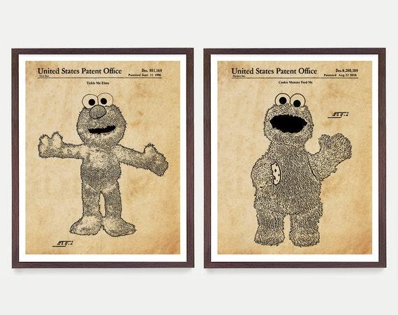 Sesame Street Patent Art - Elmo Patent Poster - Cookie Monster - Sesame Street Patent  Sesame Street Art - Nursery Art  Baby Shower Gift Art