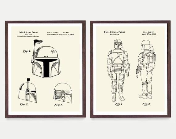 Boba Fett Poster, Mandalorian Poster,  Star Wars Art, Star Wars Patent, Star Wars Poster,  Boba Fett, Boba Fett Patent, Boba Fett Helmet,