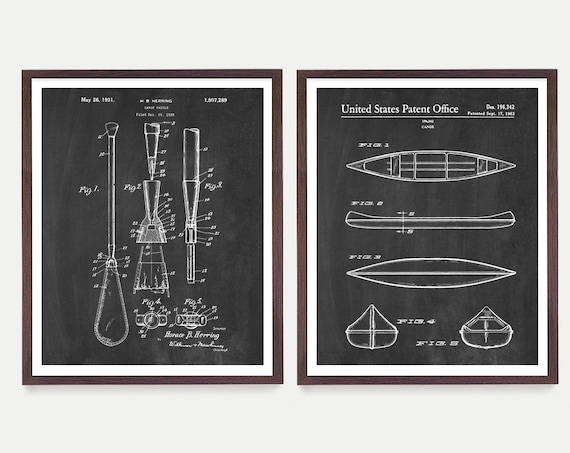 Canoe Patent Art - Canoe Poster - Lake House Decor - Lake Art - Lake Poster - Cabin Art - Wall Decor - Cabin Gift - Canoe Gift - Padde