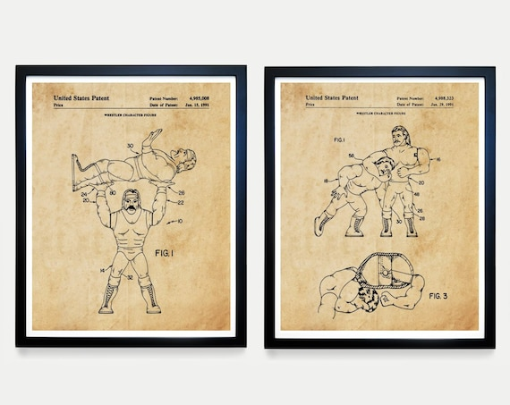 Wrestling Action Figure Patent Art - WWE - Boys Room Wall Art -Boys Room Poster - Vintage Wrestling - Wrestling Decor - WWE Poster - WWE Art