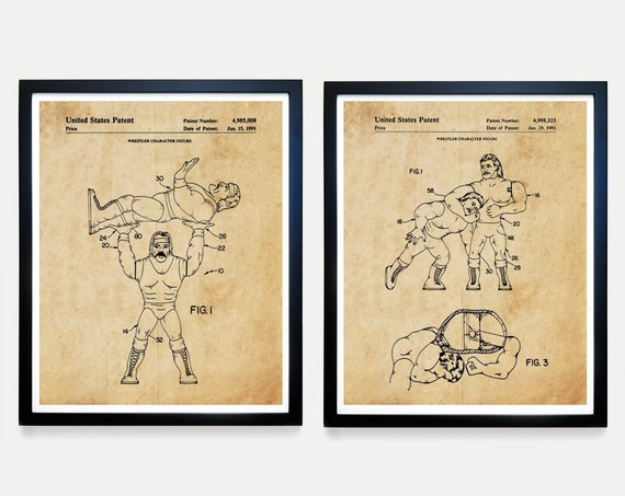 Wrestling Action Figure Patent Art, WWE, Boys Room Wall Art, Boys Room Poster, Vintage Wrestling, Wrestling Decor, WWE Poster, WWE Art