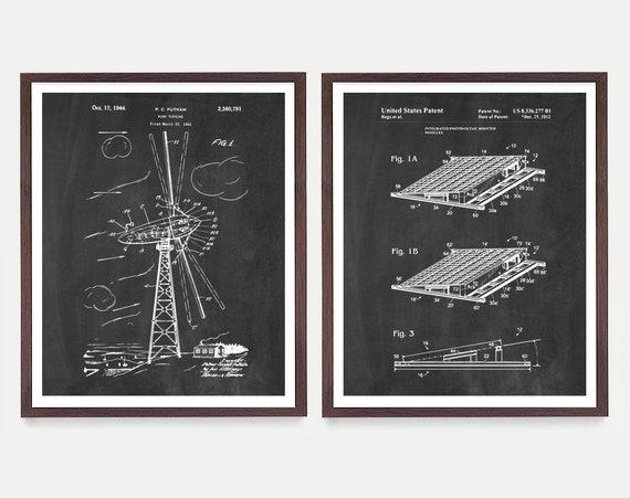 Renewable Energy Patent Collection - Solar Power - Solar Patent Art - Wind Turbine - Wind Turbine Patent - Green Energy Art - Energy Poster