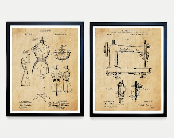 Sewing Patent Art, Sewing Machine Poster, Sewing Poster, Dress Form, Fashion Poster, Fashion Designer, Dress, Dress Maker, Sewing Art