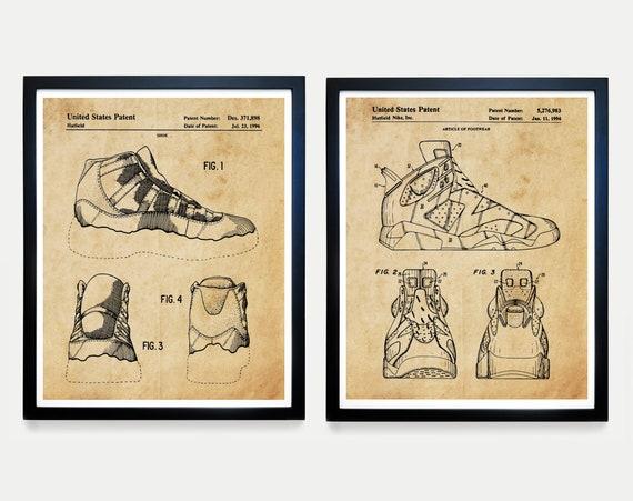 Nike Air Jordan Sneaker Patent Art, Sneaker Art, Sneaker Poster, Nike Poster, Air Jordan, Air Jordan Art, Sneakerhead Poster, Shoe Collector