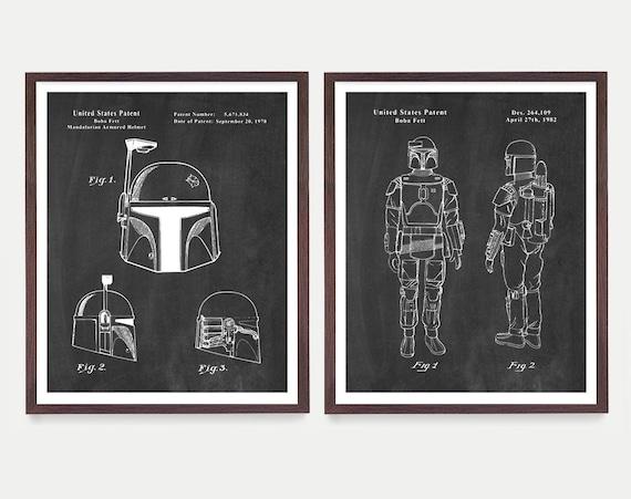 Boba Fett Poster - Star Wars Art - Star Wars Patent - Star Wars Poster  Boba Fett - Boba Fett Patent - Boba Fett Wall Art - Boba Fett Helmet