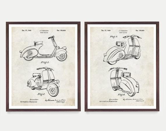Vespa Scooter Patent Art, Vespa Decor, Vespa Poster, Scooter Art, Piaggio, Italian, Vespa Patent, Vespa Gift, Patent Art, Patent Wall Art