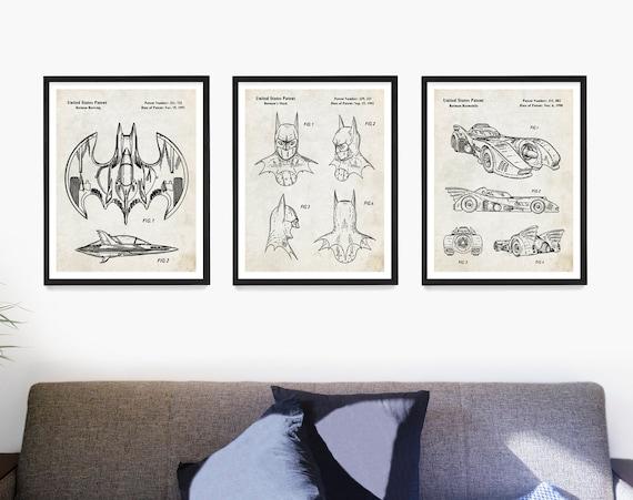 Superhero Patent Print, Bat man Wall Art, Bat man Patent Art, Superhero Poster, Boys Room Poster, Comic Book Wall Art