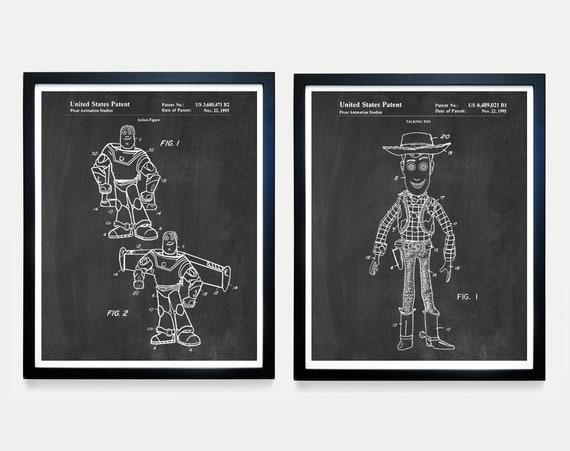 Toy Story Patent Art - Toy Story Art - Toy Story Poster - Buzz Lightyear - Woody - Toy Patent - Toy Art - Kids Room Art - Nursery Wall Art